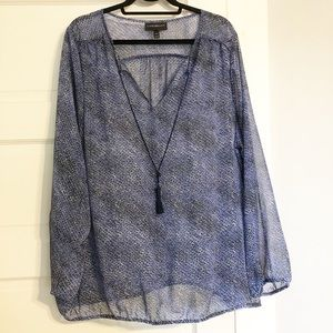 Lane Bryant 22/24 Navy Blue Sheer Peasant Blouse